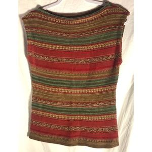 LRLtraditional dressy sweater vest red green knit